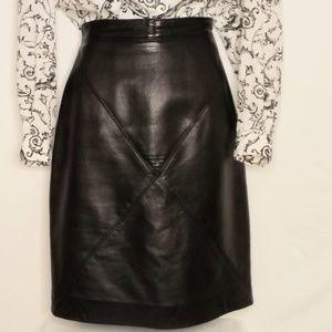 VINTAGE:Steve Fabrikant Leather Skirt, Size 10